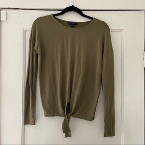 J.Crew Tie Front Long Sleeve Top in Olive -XS-EUC